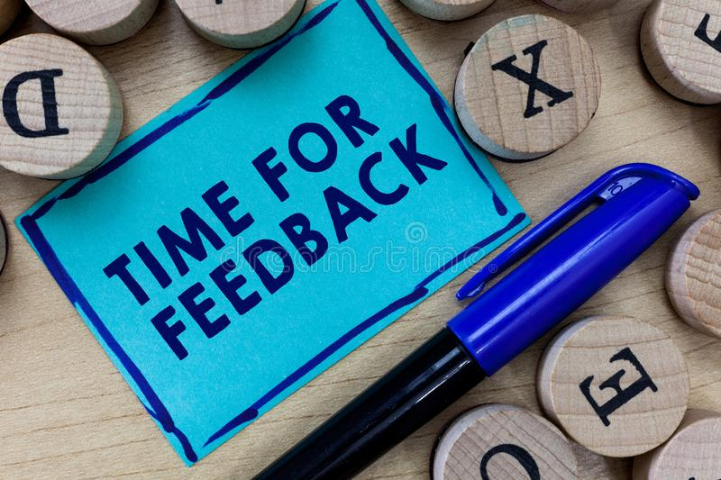 Conceptual hand writing showing Time For Feedback. Business photo text Need to response or give critic on something. Evaluation royalty free stock photos