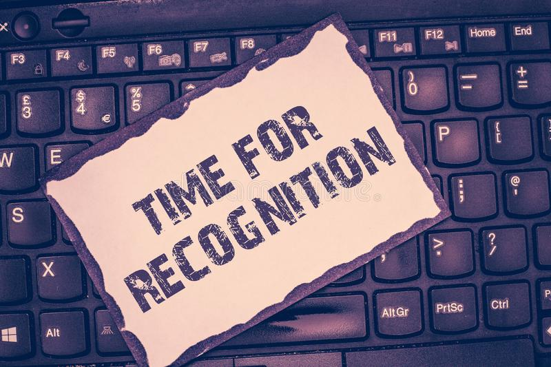 Conceptual hand writing showing Time For Recognition. Business photo showcasing Acknowledgement Interval between. Stimulus and Nature stock images