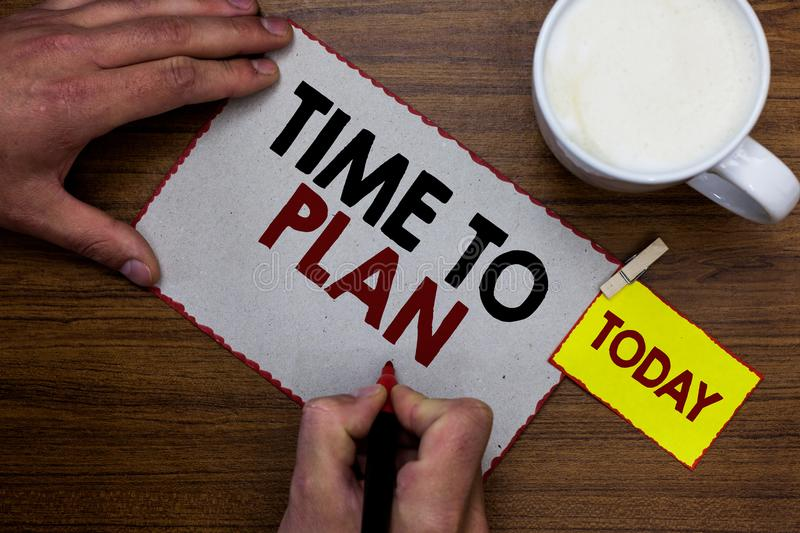 Conceptual hand writing showing Time To Plan. Business photo text Preparation of things Getting Ready Think other solutions Man ho stock photography
