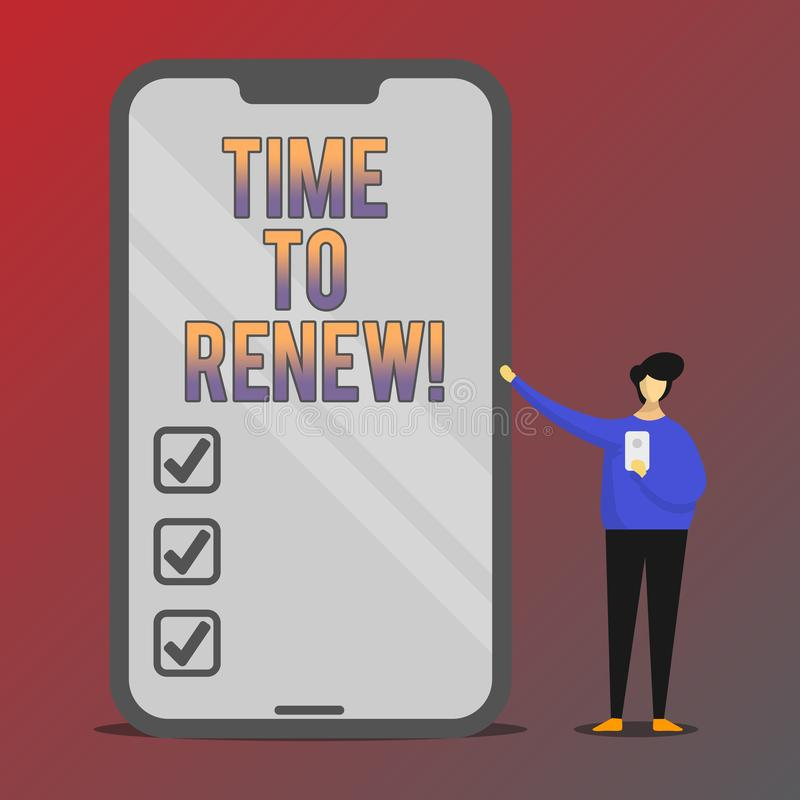 Conceptual hand writing showing Time To Renew. Business photo showcasing Continue the insurance acquired Life and property. Protection royalty free illustration