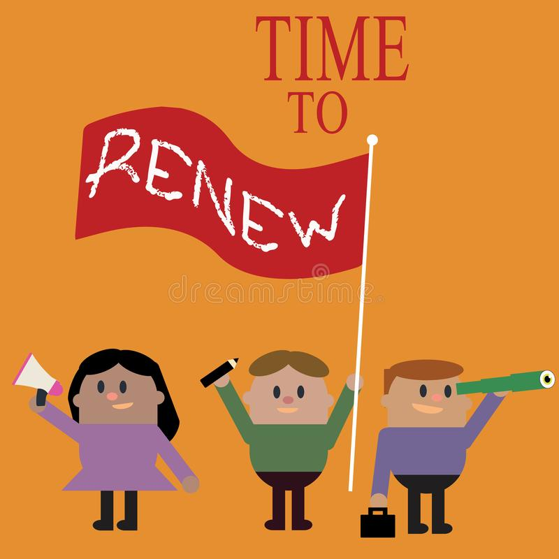 Conceptual hand writing showing Time To Renew. Business photo text Continue the insurance acquired Life and property protection.  vector illustration