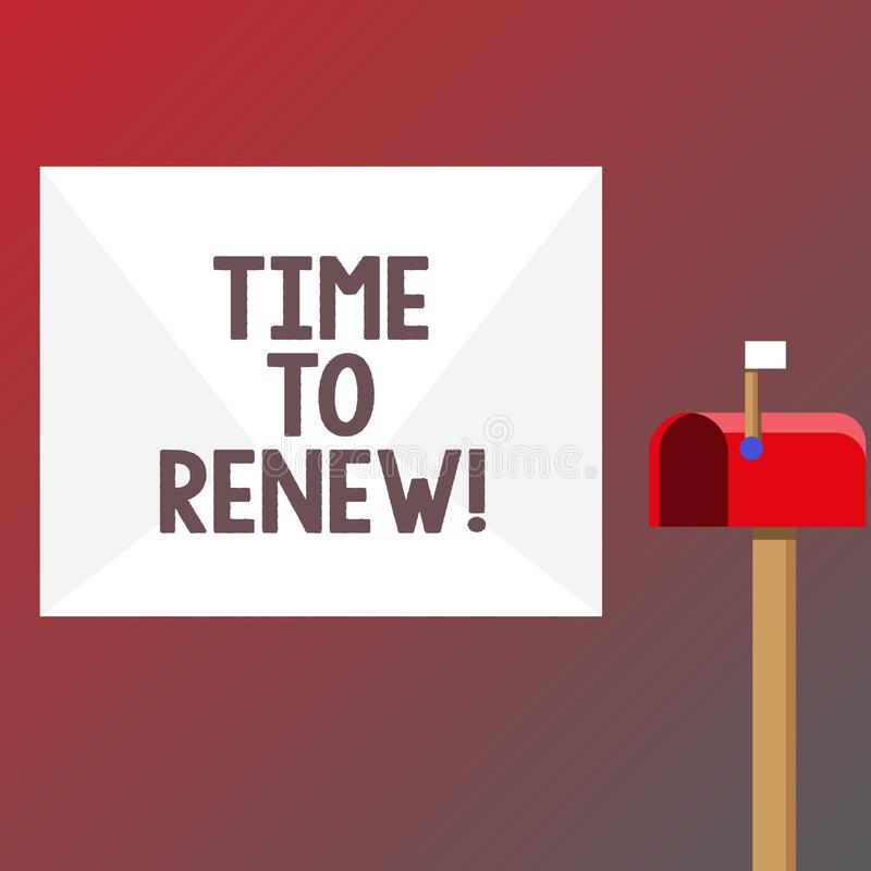 Conceptual hand writing showing Time To Renew. Business photo text Continue the insurance acquired Life and property. Protection stock illustration