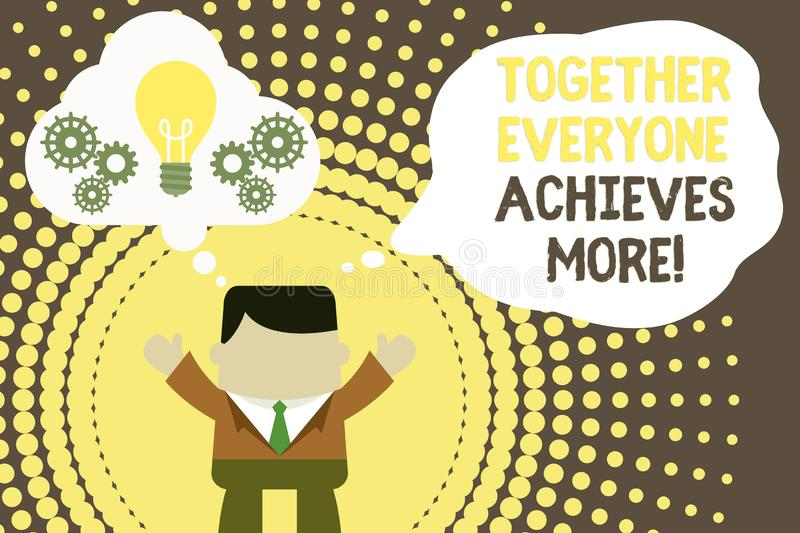 Conceptual hand writing showing Together Everyone Achieves More. Business photo text Members create synergy with strong. Conceptual hand writing showing Together vector illustration