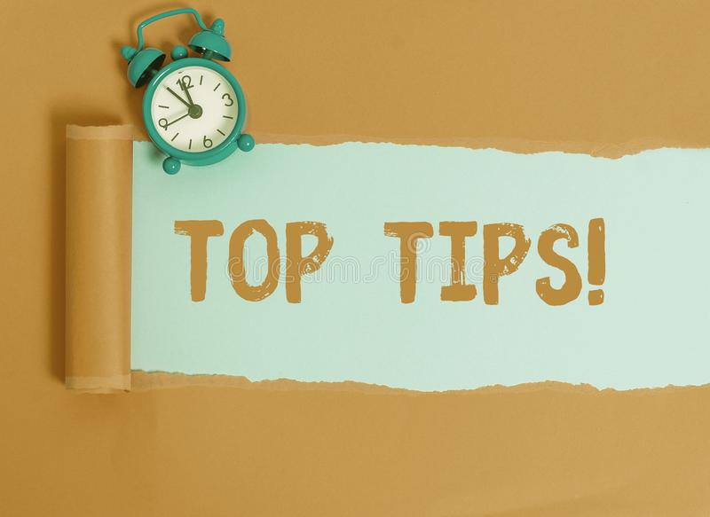 Conceptual hand writing showing Top Tips. Business photo text small but particularly useful piece of practical advice. Conceptual hand writing showing Top Tips stock image