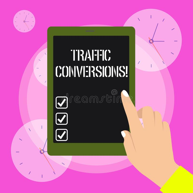 Conceptual hand writing showing Traffic Conversions. Business photo showcasing visitor who has been converted into a. Conceptual hand writing showing Traffic royalty free illustration