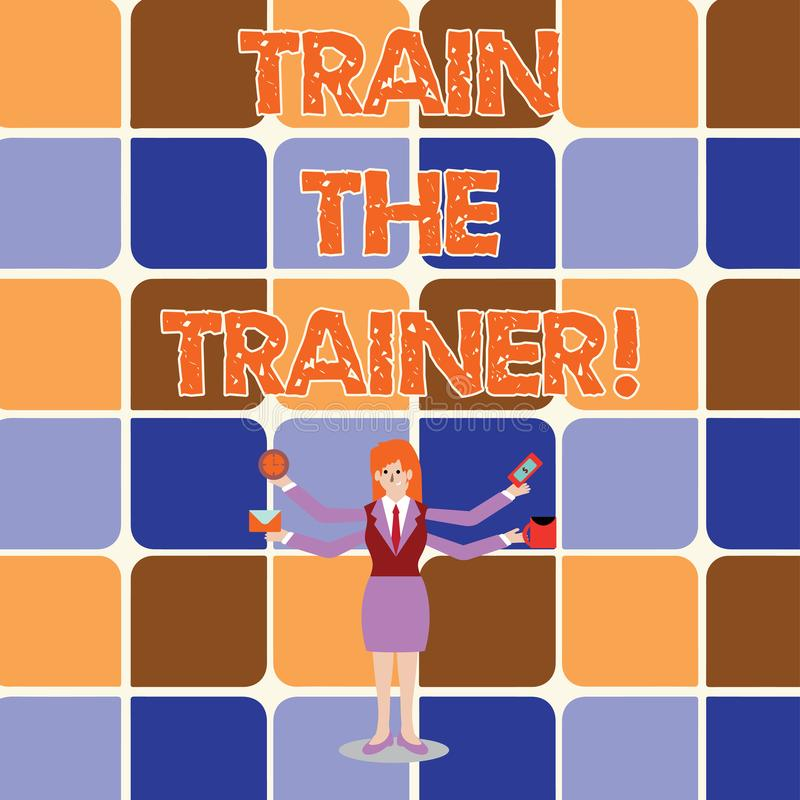 Conceptual hand writing showing Train The Trainer. Business photo showcasing Learning Technique Students being teachers royalty free illustration