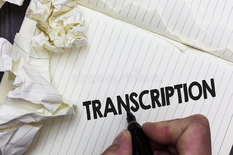 Conceptual hand writing showing Transcription. Business photo showcasing Written or printed process of transcribing words text voi. Ce Paper object notepad royalty free stock image