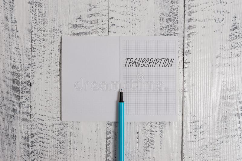 Conceptual hand writing showing Transcription. Business photo showcasing Written or printed version of something Hard. Conceptual hand writing showing royalty free stock photos