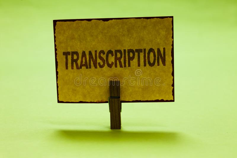 Conceptual hand writing showing Transcription. Business photo text Written or printed process of transcribing words text voice Nic. E lime colour shadow stock photo