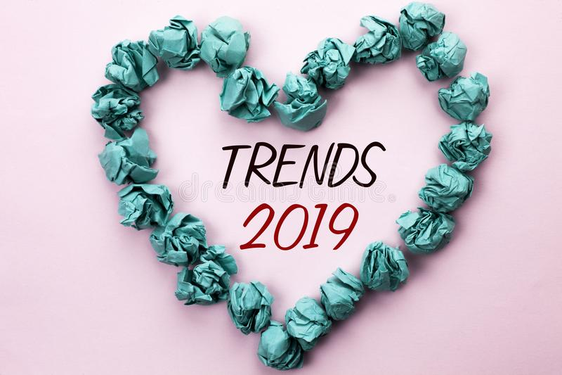 Conceptual hand writing showing Trends 2019. Business photo text Current Movement Latest Branding New Concept Prediction written o. Conceptual hand writing royalty free stock image