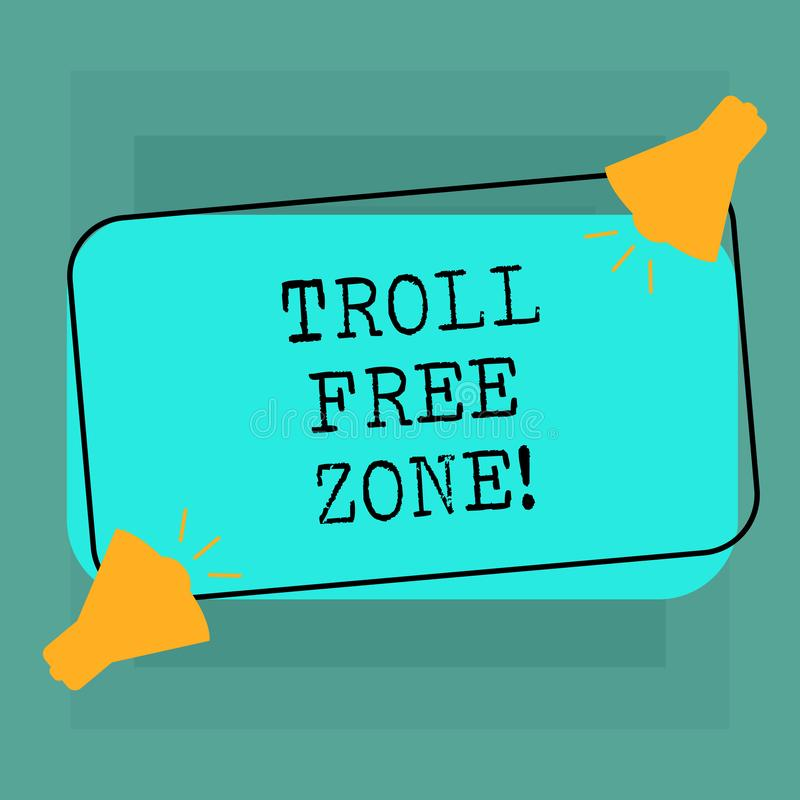 Conceptual hand writing showing Troll Free Zone. Business photo text Social network where tolerance and good behavior is. A policy Two Megaphone with Sound icon royalty free illustration