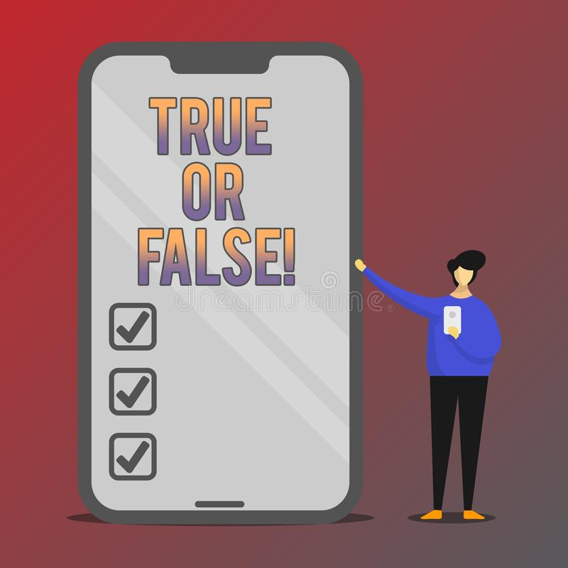 Conceptual hand writing showing True Or False. Business photo showcasing Decide between a fact or telling a lie Doubt. Confusion royalty free illustration