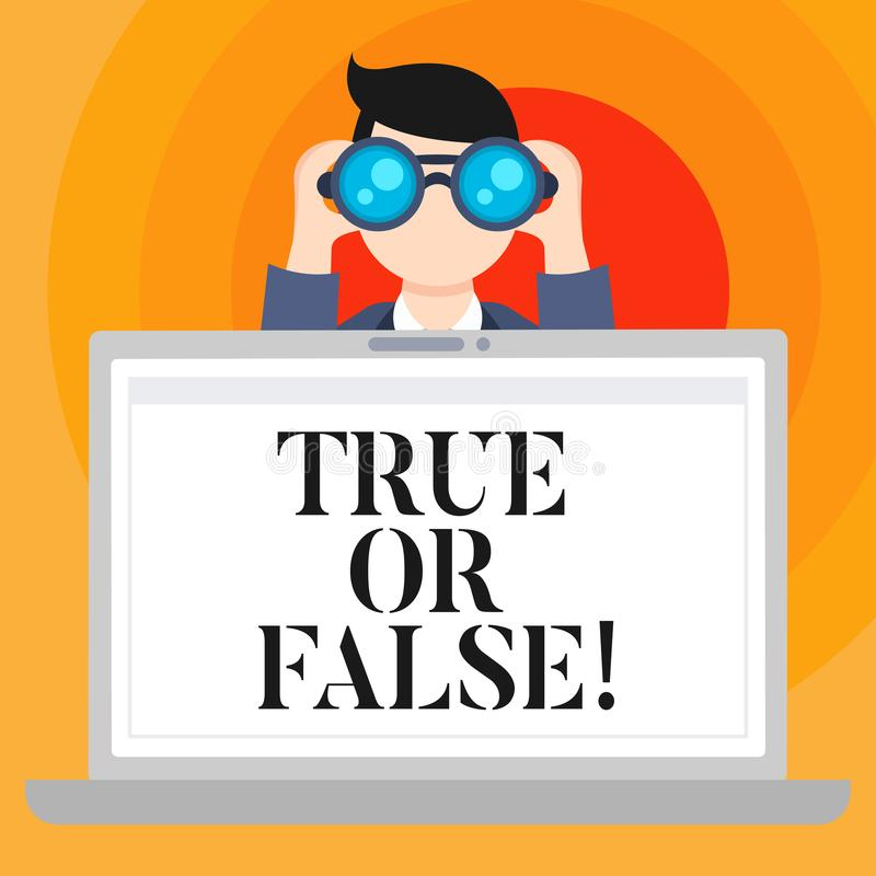 Conceptual hand writing showing True Or False. Business photo text Decide between a fact or telling a lie Doubt. Confusion stock illustration
