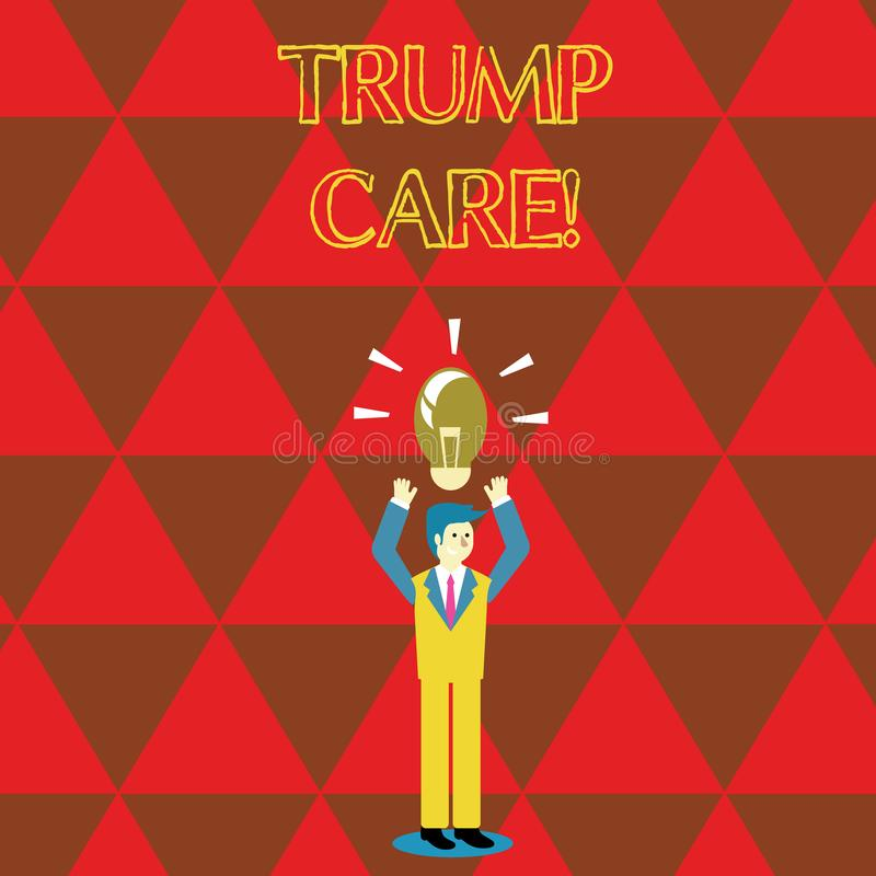 Conceptual hand writing showing Trump Care. Business photo text refers to replacement for Affordable Care Act in united. Conceptual hand writing showing Trump stock illustration