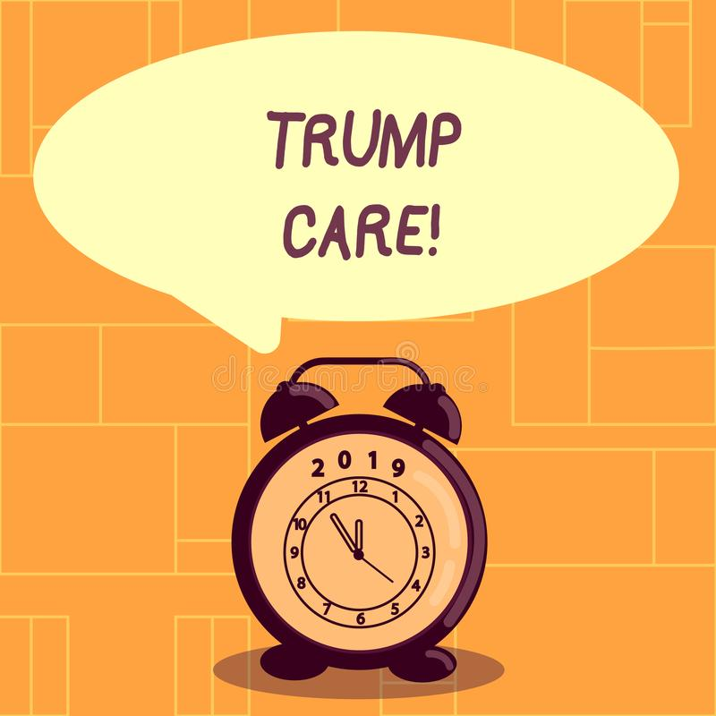Conceptual hand writing showing Trump Care. Business photo showcasing refers to replacement for Affordable Care Act in. Conceptual hand writing showing Trump vector illustration