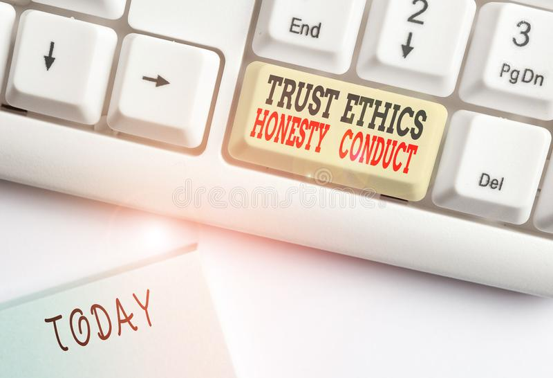 Conceptual hand writing showing Trust Ethics Honesty Conduct. Business photo showcasing connotes positive and virtuous. Conceptual hand writing showing Trust stock image