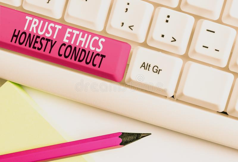 Conceptual hand writing showing Trust Ethics Honesty Conduct. Business photo text connotes positive and virtuous. Conceptual hand writing showing Trust Ethics stock photo