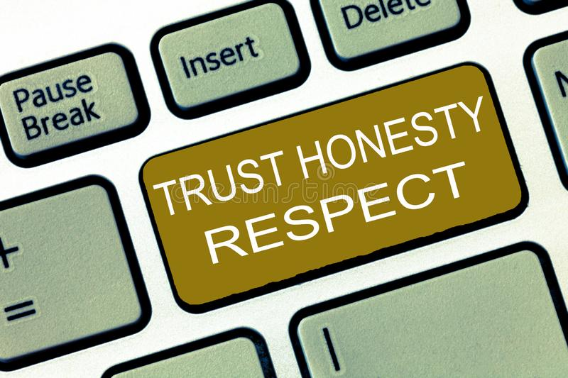 Conceptual hand writing showing Trust Honesty Respect. Business photo showcasing Respectable Traits a Facet of Good. Moral Character royalty free illustration