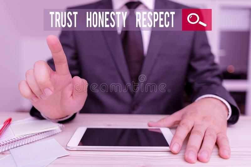 Conceptual hand writing showing Trust Honesty Respect. Business photo showcasing Respectable Traits a Facet of Good. Conceptual hand writing showing Trust royalty free stock images