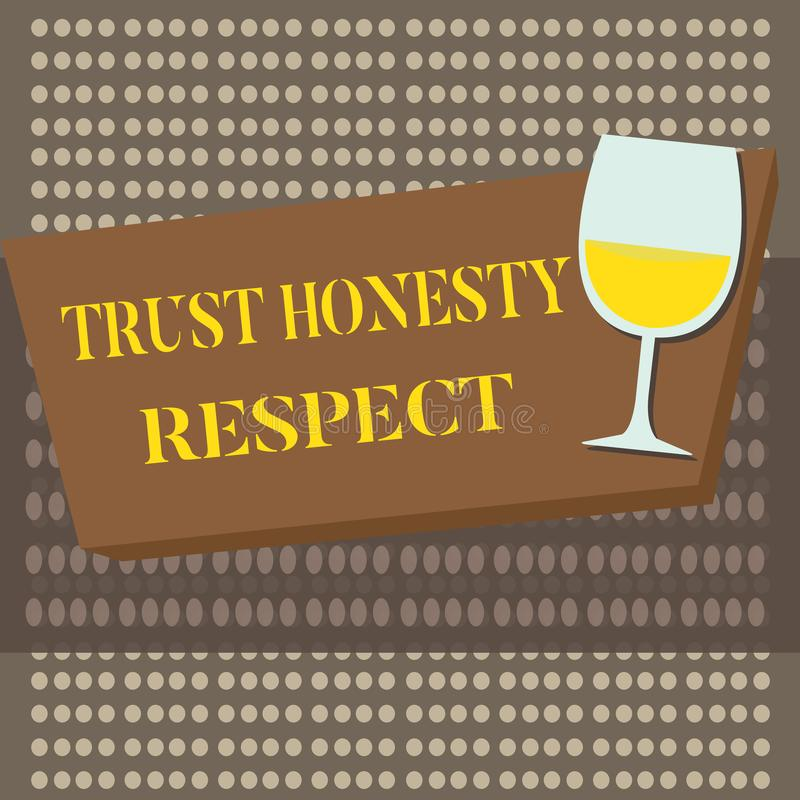 Conceptual hand writing showing Trust Honesty Respect. Business photo text Respectable Traits a Facet of Good Moral. Character vector illustration