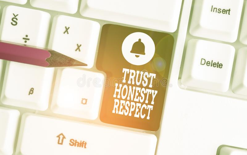 Conceptual hand writing showing Trust Honesty Respect. Business photo showcasing Respectable Traits a Facet of Good. Conceptual hand writing showing Trust stock photo