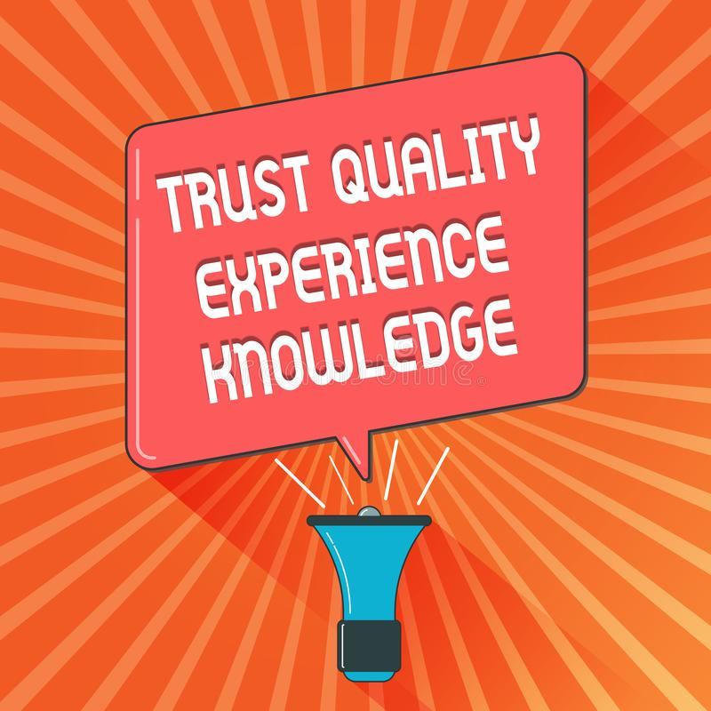 Conceptual hand writing showing Trust Quality Experience Knowledge. Business photo showcasing Customer quality service. And satisfaction vector illustration