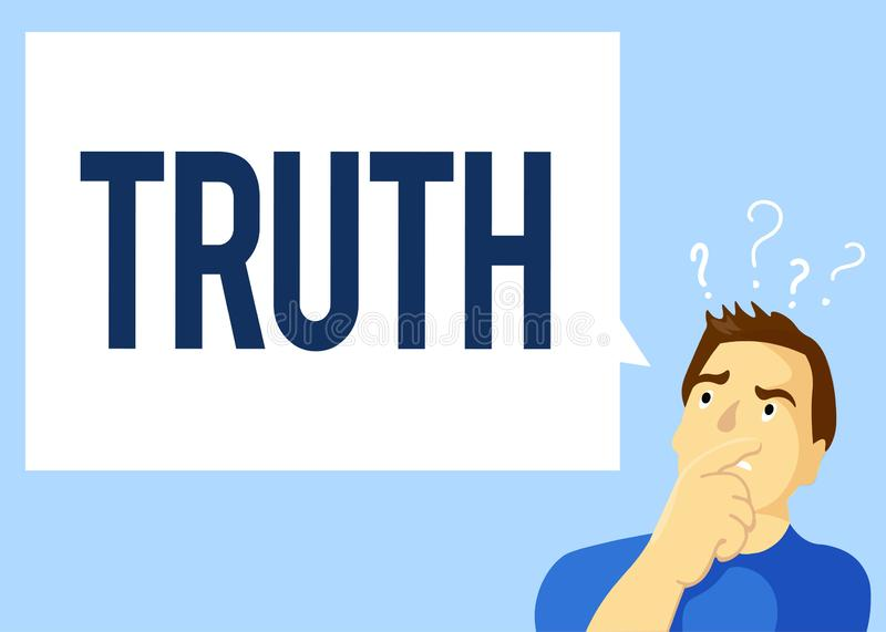 Conceptual hand writing showing Truth. Business photo text the quality or state being true opposite of lying Telling. Facts stock illustration
