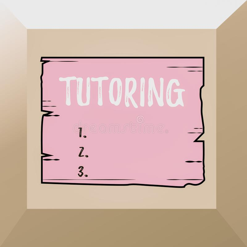 Conceptual hand writing showing Tutoring. Business photo showcasing An act of a demonstrating employed to administer. Conceptual hand writing showing Tutoring stock illustration