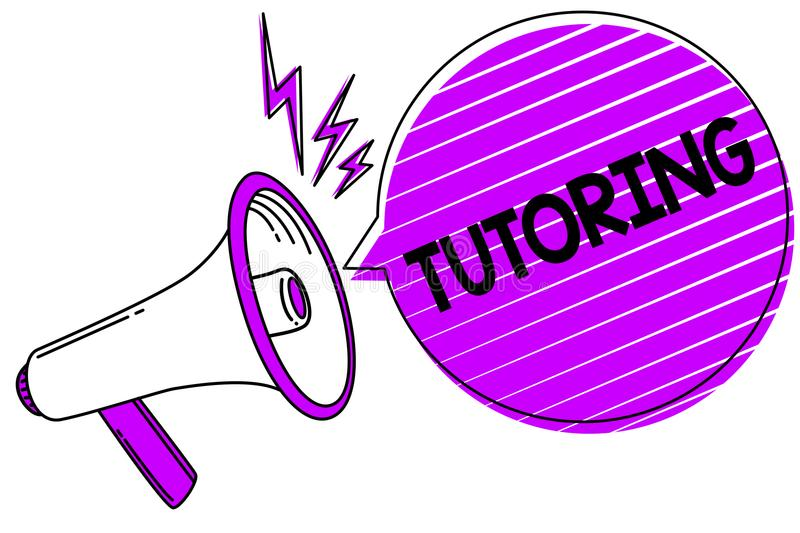 Conceptual hand writing showing Tutoring. Business photo showcasing An act of a person employed to administer knowledge to someone. Megaphone loudspeaker scream vector illustration
