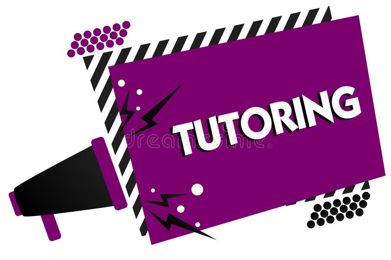 Conceptual hand writing showing Tutoring. Business photo text An act of a person employed to administer knowledge to someone Megap. Hone loudspeaker loud scream stock illustration