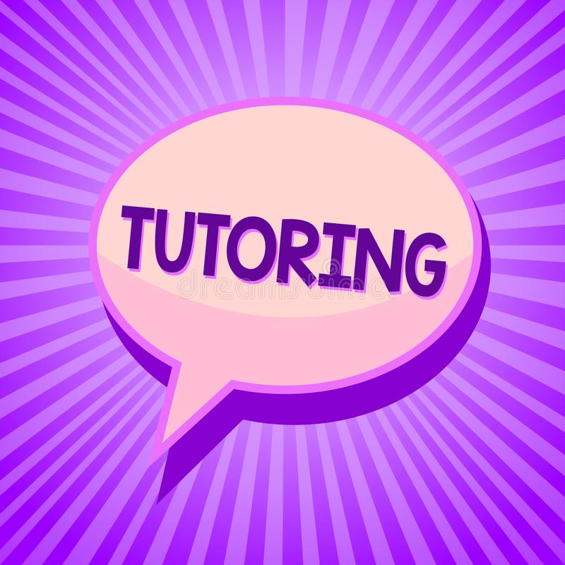 Conceptual hand writing showing Tutoring. Business photo text An act of a person employed to administer knowledge to someone Speec. H bubble idea reminder purple stock illustration