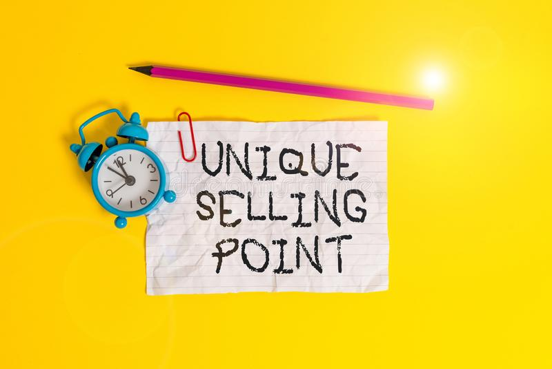 Conceptual hand writing showing Unique Selling Point. Business photo showcasing Differentiate a Product Specific. Conceptual hand writing showing Unique Selling stock images
