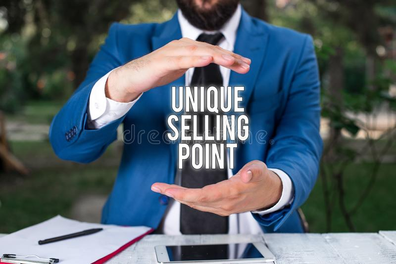 Conceptual hand writing showing Unique Selling Point. Business photo showcasing Differentiate a Product Specific. Conceptual hand writing showing Unique Selling stock photography