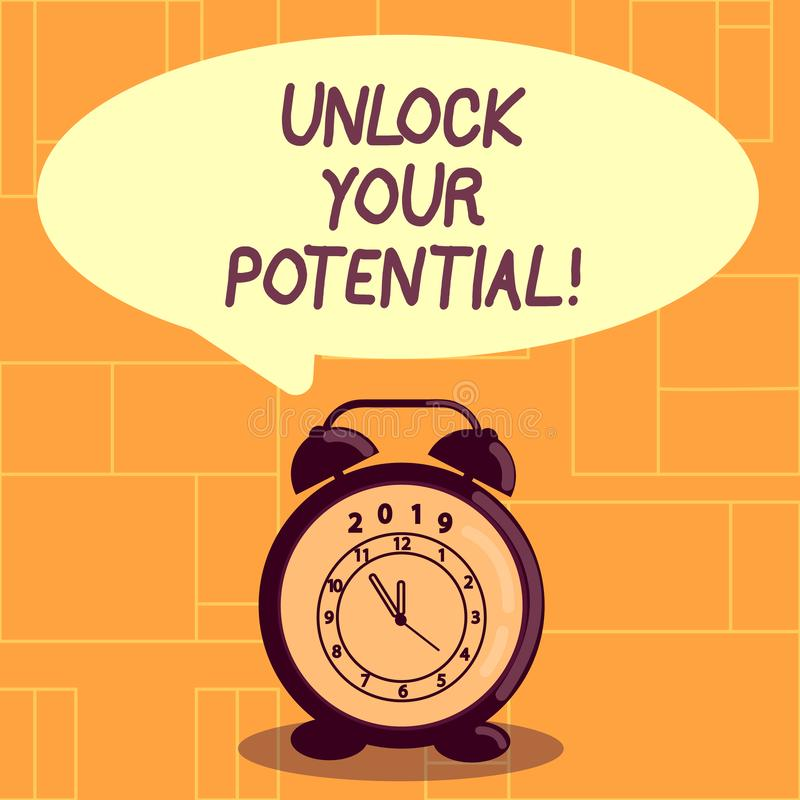 Conceptual hand writing showing Unlock Your Potential. Business photo showcasing access your true skills and powers. Conceptual hand writing showing Unlock Your royalty free illustration