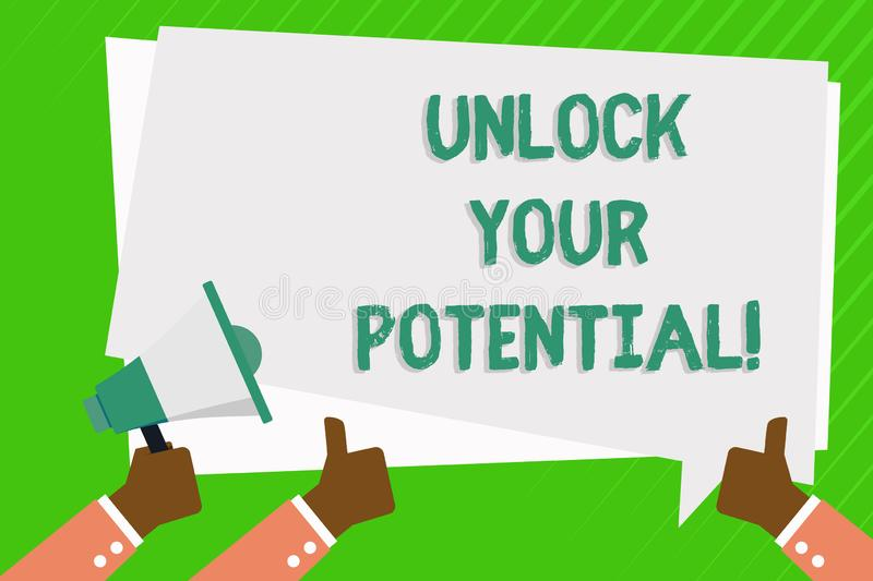Conceptual hand writing showing Unlock Your Potential. Business photo showcasing Reveal talent Develop abilities Show stock illustration