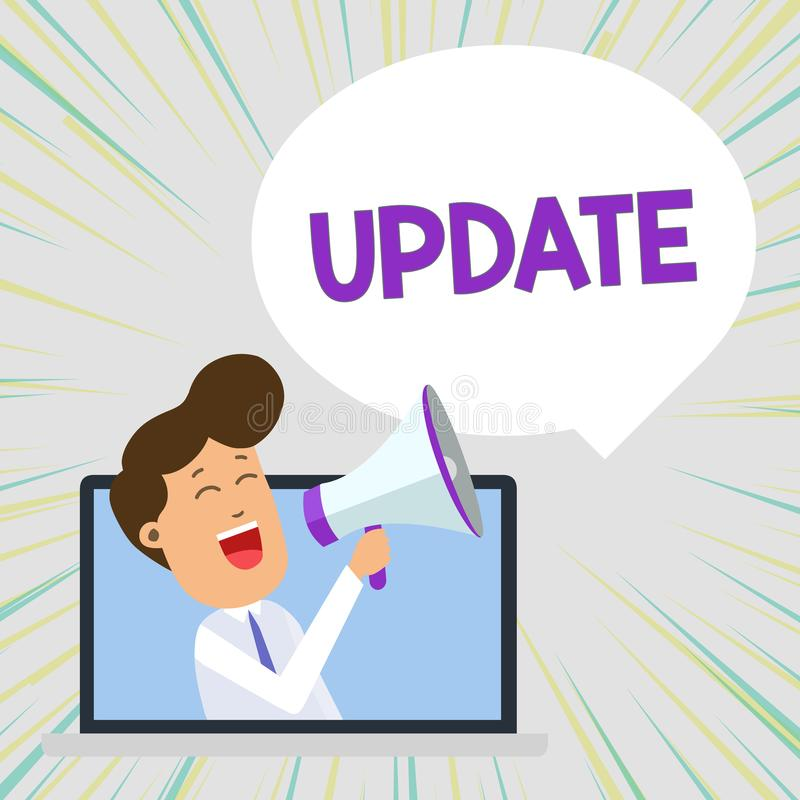 Conceptual hand writing showing UPDATE. Business photo text make something more modern or up to date like software. Conceptual hand writing showing UPDATE stock illustration