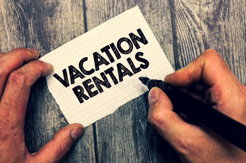 Conceptual hand writing showing Vacation Rentals. Business photo showcasing Renting out of apartment house condominium. For a short stay royalty free stock image