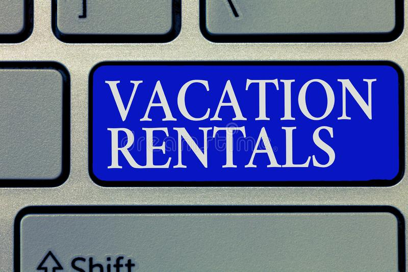 Conceptual hand writing showing Vacation Rentals. Business photo showcasing Renting out of apartment house condominium. For a short stay royalty free stock images