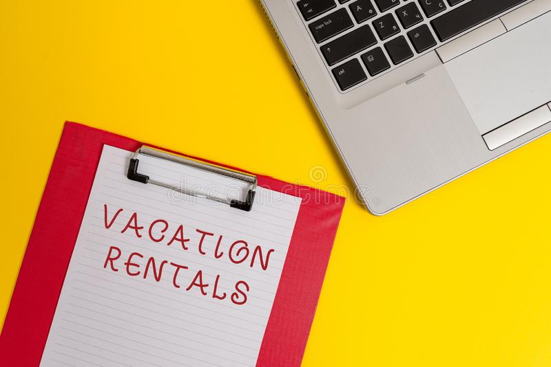 Conceptual hand writing showing Vacation Rentals. Business photo text Renting out of apartment house condominium for a. Conceptual hand writing showing Vacation royalty free stock photos
