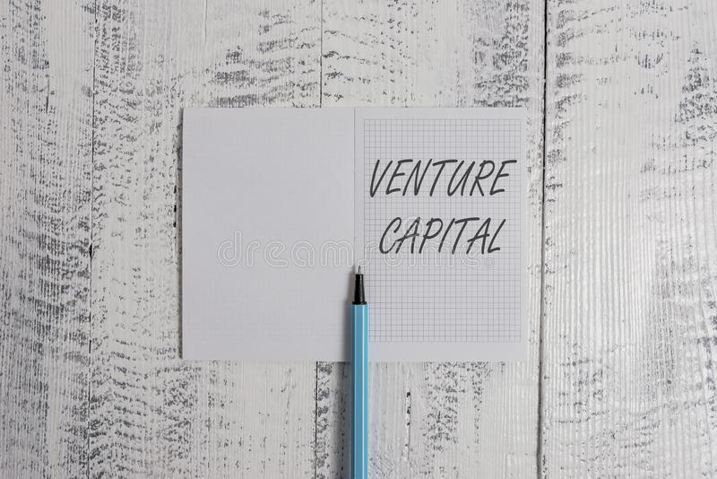 Conceptual hand writing showing Venture Capital. Business photo showcasing financing provided by firms to small early. Conceptual hand writing showing Venture royalty free stock photography