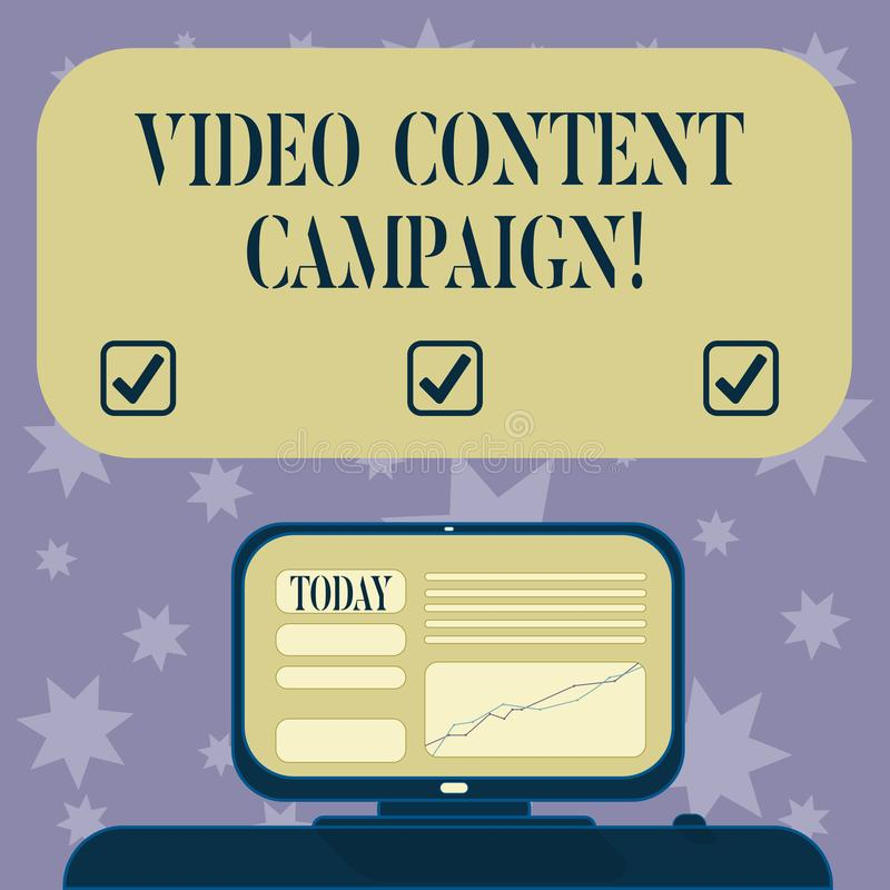 Conceptual hand writing showing Video Content Campaign. Business photo text Integrates engaging video into marketing. Campaigns Mounted Computer Screen with vector illustration