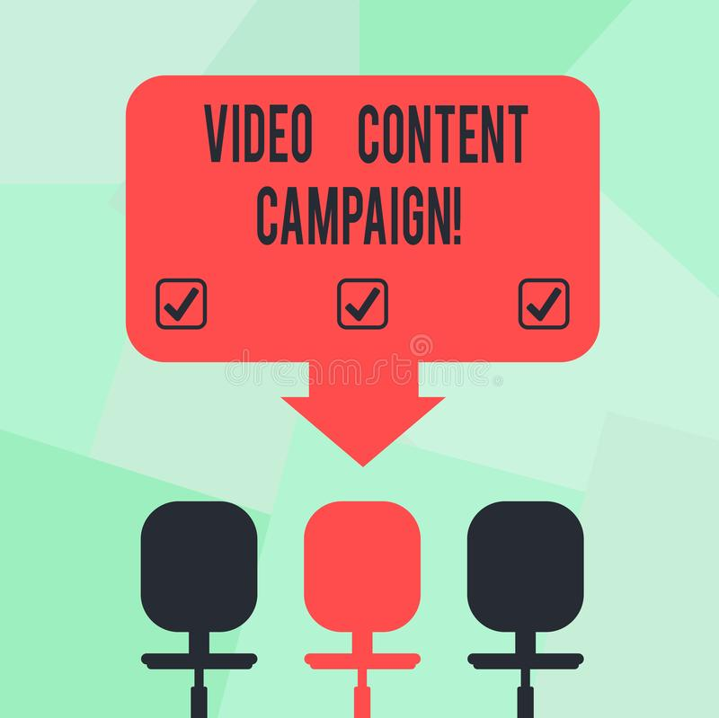 Conceptual hand writing showing Video Content Campaign. Business photo text Integrates engaging video into marketing. Campaigns Space Color Arrow Pointing to vector illustration