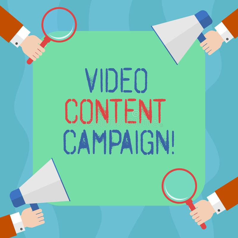 Conceptual hand writing showing Video Content Campaign. Business photo text Integrates engaging video into marketing. Campaigns Hu analysis Hands Holding stock illustration
