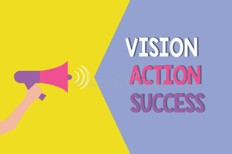 Conceptual hand writing showing Vision Goal Action Success. Business photo showcasing Strategic Planning Process Act stock illustration