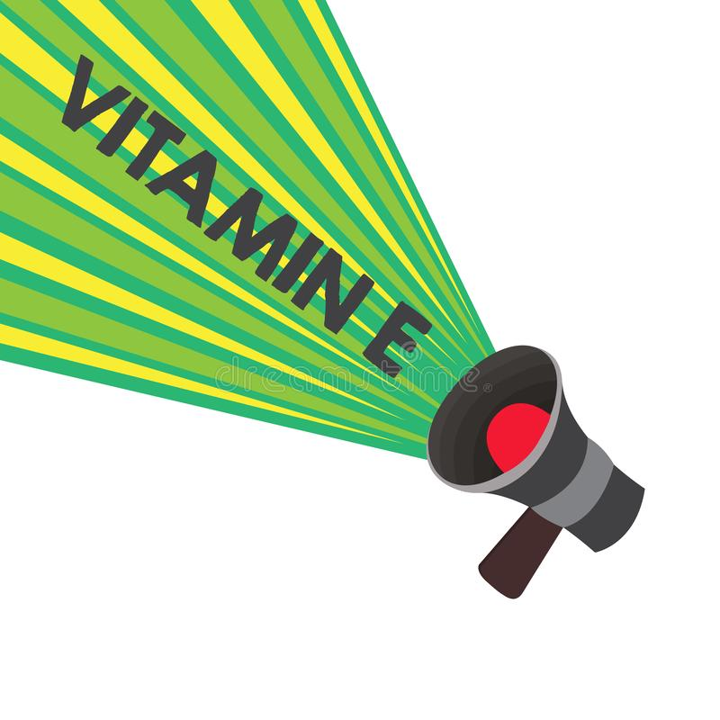 Conceptual hand writing showing Vitamin E. Business photo text Antioxidant Protects body tissue from damage caused by. Substances stock illustration