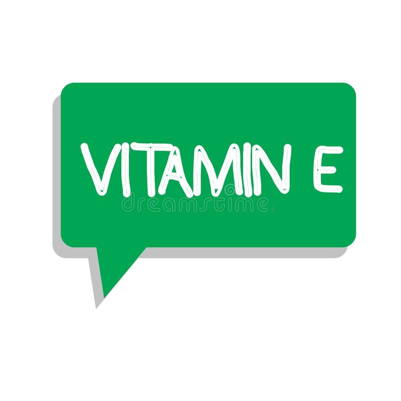 Conceptual hand writing showing Vitamin E. Business photo text Antioxidant Protects body tissue from damage caused by. Substances royalty free illustration