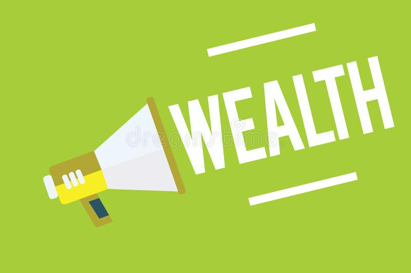 Conceptual hand writing showing Wealth. Business photo showcasing Abundance of valuable possessions or money To be very. Rich Luxury Megaphone green background royalty free illustration
