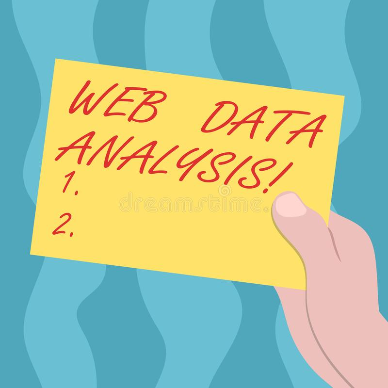 Conceptual hand writing showing Web Data Analysis. Business photo text measurement collection analysis and reporting of. Site Drawn Hu analysis Hand Holding vector illustration