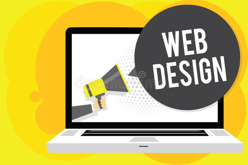 Conceptual hand writing showing Web Design. Business photo showcasing who is responsible of production and maintenance of websites stock illustration