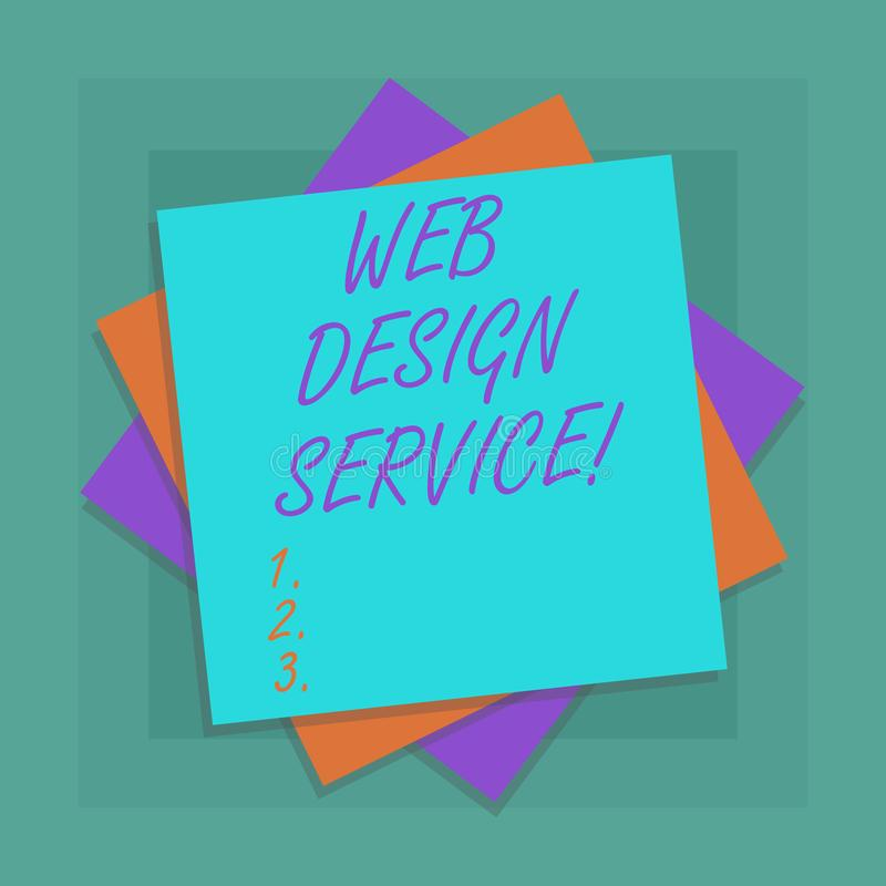 Conceptual hand writing showing Web Design Service. Business photo showcasing development process for creating website focuses stock illustration